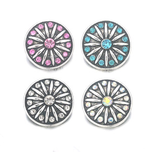 Wholesale 065 Flower 3D 18mm 25mm 30mm Metal Snap Button For Bracelet Necklace Interchangeable Jewelry Women Accessorie Findings