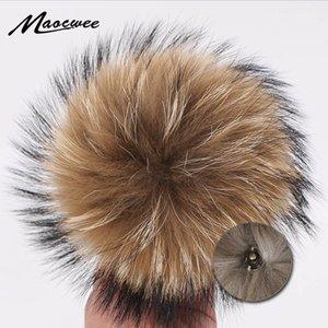 12-15cm Doğa Kürk Hayvan Saç top Şapka Düğme Pom El yapımı DIY Gerçekten Raccoon Aksesuarları Toptan Hat PomPon ile Toka