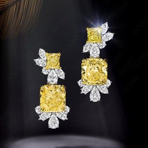 GODKI Trendy Geometric Yellow Cubic Zircon Crystal CZ Drop Dangle Earring For Women Bridal Earring aretes de mujer modernos 2018 CX200606