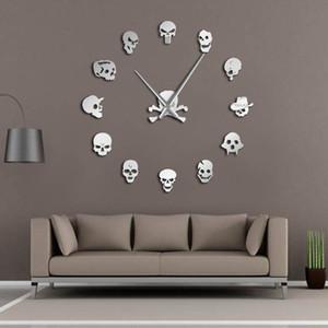 Verschiedene Schädel Köpfe DIY Horror Wall Art Riesen-Wanduhr Big Needle Frameless Zombie-Köpfe große Wand-Uhr-Halloween-Dekor Y200110