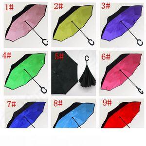 Inversé Umbrella C-Poignée couche autoporteur intérieur pratique Out Design spécial Double Upside Down double couche coupe-vent parapluie 30dei