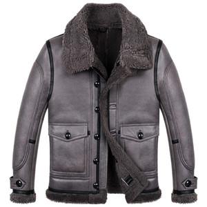 Chaqueta para hombre B3 Shearling Flight Chaqueta corta de piel de oveja con abrigo de clima cálido y frío