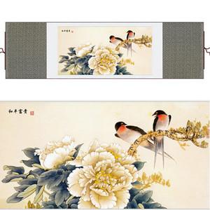 Swallow And Penoy Flower Pintura Home Office Decoración Chino Desplazamiento Pájaros Tinta Lavado Pintura