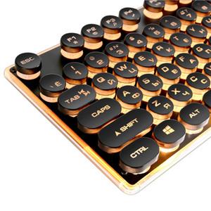 Máquina de escribir Gaming Teclado Ruso Retro Redondo Brillante Teclado Teclado Panel de Metal Retroiluminado USB Con Cable Panel de Metal Iluminado Borde Impermeable