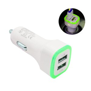 5V 2.1A Dual USB Ports Led Light Car Charger brands Universal Charing Adapter for iphone Samsung S10 HTC LG Cell phone free shipping