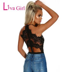 LIVA GIRL Black Sexy Eyelash Lace Bodysuit for Women 2020 High Waist V Neck Sleeveless Body Top Bodycon Jumpsuits Female Rompers Y200701
