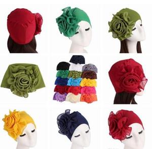 15 Colori laterali Fiori grandi cappelli da donna Fibra di bambù elastico copricapo Cappelli eleganti da donna Cappellini musulmani