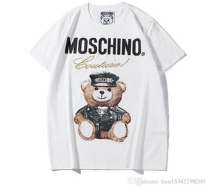 2019 Летний Новый Moschin моды Tee хлопка с коротким рукавом дышащий Мужчины Женщины Moschinos Качели Медведь Свободный Открытый Streetwear футболки
