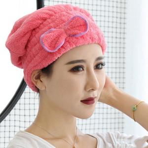 Кораллового флис Ванна H Cu Bowknot Dry Hair Cap Утолщение вычищать волос Вод Усвоение Быстро сохнет Hat Make Up Полотенце DHL Free LXL820-1