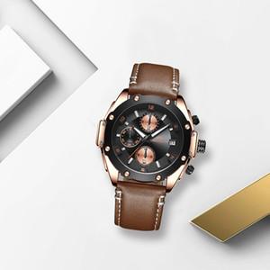 Megalith Mens Moda Relógios impermeável Sport Chronograph Quartz Analogue Data Assista Gents couro alça de pulso Relógios Homens Relógio