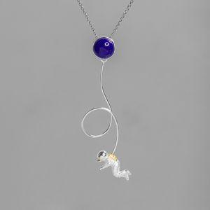Kadınlar Erkekler Moda Evren Gezegen Takı için INATURE 925 Gümüş Lapis Lazuli Uzay Astronot kolye Nekclace