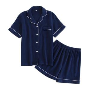 Azul Marinho Crape 100% Algodão Conjuntos de Pijama Curto Mulheres Verão Sexy Cor Pura Pijamas Mujer Pijama Mulheres Casuais Indoorwear J190613