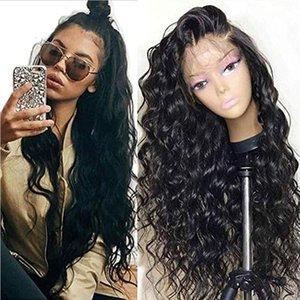 Pelucas delanteras del pelo humano de la onda floja de encaje con bebé sin cola de pelo peruano de Remy del pelo para las mujeres Negro 150% densidad natural