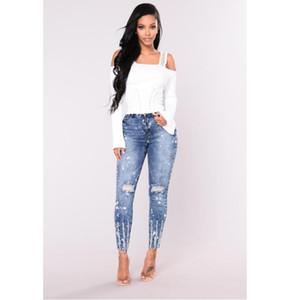 Primavera Estate Elastico Blue Hole Jeans Strappati Donna Pantaloni In Denim Pantaloni Per Le Donne Matita Skinny Jeans Donna Pant S-3XL