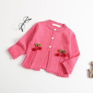 Baby Girls Clothes Cotton Cute Solid Color Cherry Knit Cardigan Autumn Winter Girl Sweater Coat