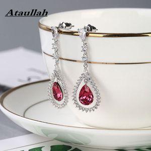 Ataullah Dangle Hanging Waterdrop Earrings Long Drop Earrings Sterling Silver 925 Jewelry Pendent for Elegant Women EW056