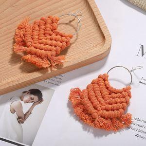 Handgemachte Macrame Fringe Ohrring Boho Sommer-Strand-Ohrring-Böhmen Makramee Ohrring-Tropfen-Ohrringe für Frau Mädchen der neuen Ankunft