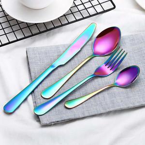 4pcs / set in acciaio inox cucchiaio forchetta coltello da tavola di Imposta occidentale cucchiaio cibo coltello da bistecca stoviglie Home Ristorante tavola di insiemi