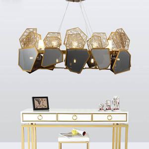 Итальянский креативный дизайн роскошный черный стеклянный абажур полые резные светодиодные 9/10/12 свет подвесной светильник комплект светильника