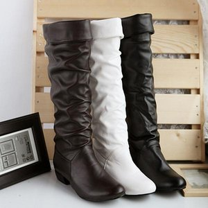 Sungtin 2019 Hot Sale Women PU Leather Knee High Boots Fashion Classic Flat Boots Ladies Autumn Winter Shoes Basic Long