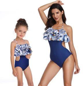Ucuz kız bayanlar 2020 bölünmüş mayo bayanlar yüksek fırfır ebeveyn-çocuk Swim aşınma Bikini Seti yakuda esnek şık çocukla bikini belli