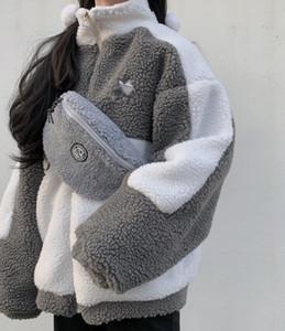 Mulheres flanela Zipper manga comprida pelagem emenda fleece Sexy Ladies bonito lã quente solto lazer Curto caxemira casaco estudante pijama jaqueta