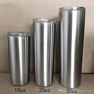 Тощий тумблер тонкий тумблер прямой чашку пива кофейная кружка 304 изоляция из нержавеющей стали вакуумная с лидрой 15 унций 20 унций 30 унций