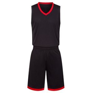 2019 New Blank Basketball jerseys printed logo Mens size S-XXL cheap price fast shipping good quality Black Red BR0002
