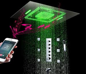 """31 """"Juego de ducha LED para baño Mezclador de música de 5 vías con desviador termostático Integrado en funciones múltiples Cabezales de ducha en cascada con masaje en spray corporal"""