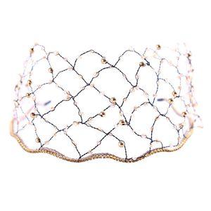 Joyería cristalino de la vendimia barroca cabeza del cerrojo Crystal Mesh novia diadema Rhinestone Tiara Corona pelo de la boda