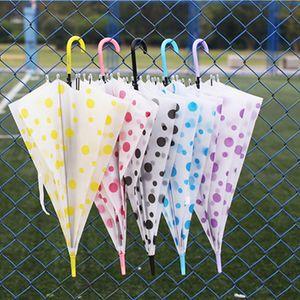 Fourniture usine Imprimé transparent Dot longue poignée Eco-friendly Umbrella Matte couleur 5 transparent étanche Couleurs parapluie DH0808