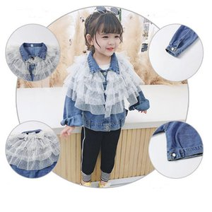 Spring 2020 New Girls Denim Jacket Fashion Lace Outerwear Autumn Girl Clothes Coat Unique Design Cake Gauze Children's Clothing