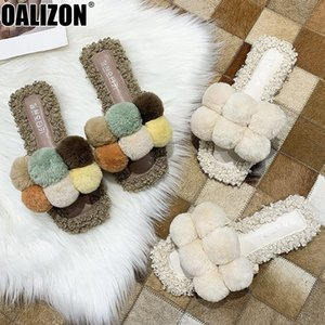 Femmes Chaussons Été Mode Mignon fourrure boule Toes Peep Casual Mulets Diapositives Mujer Lady Mocassins Lazy Flat Chaussons Mujer Chaussures R407