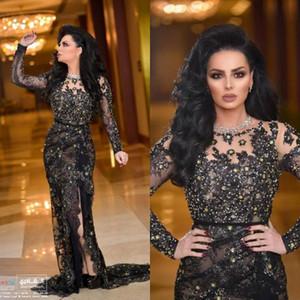 2020 Arabe dentelle noire à manches longues robes de soirée avec des robes de bal sirène de Split mère de la mariée Robes