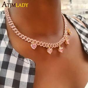 Пользовательские розовый мизинец сердце стрелка CZ кубинский звено цепи ожерелье замороженный из Bling хип-хоп моды 32 + 10см чокеровщик женщины ювелирные изделия