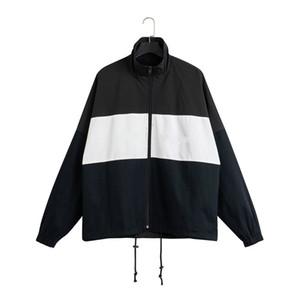 20ss novos homens retro esportes jaquetas gola contraste de costura, acessórios de grandes dimensões zipper tecido à prova de vento Oxford perder tamanho outwear EUA