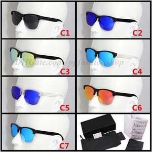 Primera marca polarizado medio capítulo de las gafas de sol de alta calidad de los hombres de los vidrios de las mujeres frogsking 9374 Gafas de sol UV400 de la lente unisex