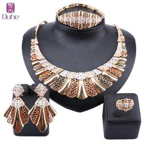 Nigerian mariage Bijoux en cristal Set nuptiale Dubai Gold Couleur Bracelet Collier de perles d'Afrique boucle d'oreille Bijoux Bague