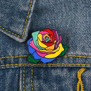 Flor Esmalte Pin Colorido Planta Denim Solapa Broche Rosa Capa Insignia Amor Joyería Día de San Valentín el mejor regalo