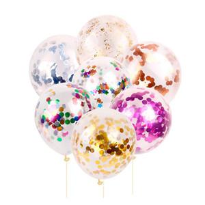 12 inç Lateks Pullarda Dolgulu Temizle Balonlar Konfeti Balon doğum günü partisi Düğün Süsleme Malzemeleri 5 adet / lot Çok renkli Balon