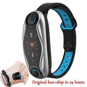 Intelligente Bracciale 2 in 1 TWS Headset Salute Fitness intelligente Wrist Band T90 impermeabile IP67 Sport Bluetooth SmartWatch orologio per IOS Android Phone