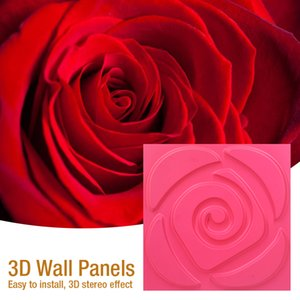 30x30cm 3D Art Wall Panel Wavy Rose Wood Carving Flower 3D Wall Curve Embossed Pearlescent Colorful Wedding Decor Wallpaper