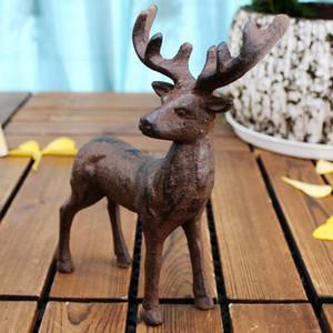 2 pezzi Cast Iron Deer Figurural Scultura Statua Vintage Ornament Animal Home Garden Accent Cottage House Farm Decorazione artigianale in metallo marrone