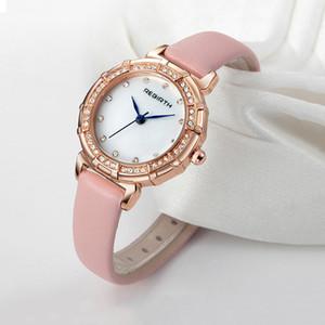 Presentes Relógios Ladise Relógio REBIRTH Women Watch Strap de couro Quartz relógio das mulheres Diamante Moda