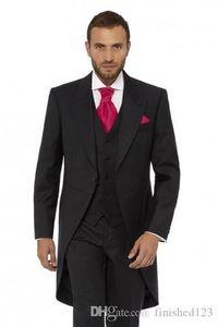 New Arrival One Button Black Groom Tuxedos Peak Lapel Groomsmen Men Wedding Party Suits (Jacket+Pants+Vest+Tie) NO:2178