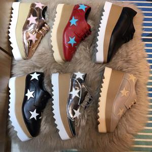 Новое прибытие итальянских брендов Stella McCartney Обувь Женщины причинные ботинки женщин звезды клинья Outsole платформы из натуральной кожи