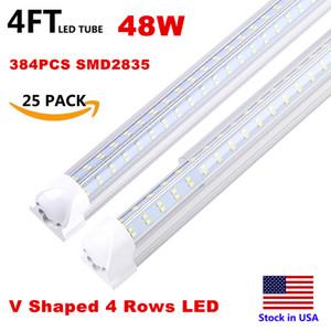 Entegre T8 Floresan Lamba 4ft 5 ft 6 ft 8ft 8 Ayaklar LED Tüp Işık V şekli LED Işık Fikstür 120W 4 Satır AC85-277V