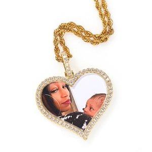 Hip Hop Пользовательские фото памяти Love Heart Вращающийся Photo Frame Ice Out цирконами BlingPendant ожерелье Bling
