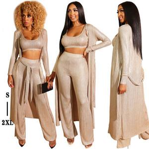 Moda Zarif Kadın Üç Parçalı Pantolon, Pure Color Bronzlaştırıcı Lady ve Kız Casual Boş Giyim Setleri, Sonbahar ve Kış