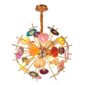 Post moderne bunte Achat G9 Kronleuchter Light Metal Globe hängende Lampe Lustre Innenleuchten Luxus Art Deco Lampara